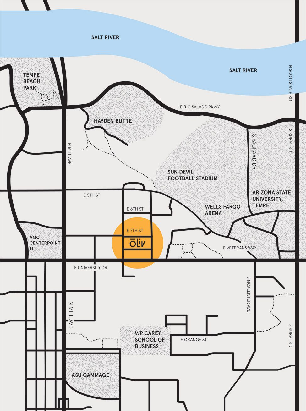 OLIV Tempe Location Map