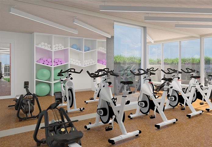Yoga room with spin bikes